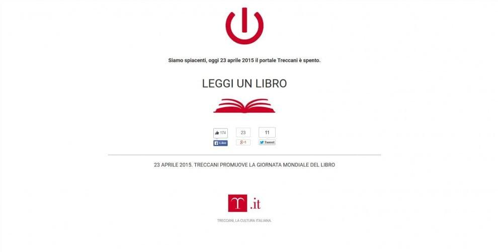 """Giornata mondiale del libro, chiuso il sito Treccani: """"Andate a leggere"""""""