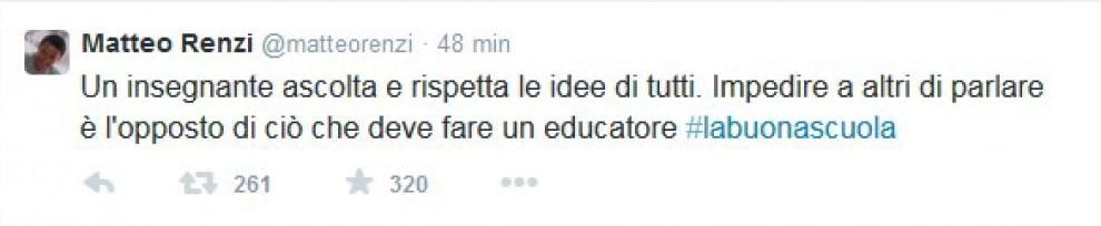 Renzi su Twitter, polemica con i prof