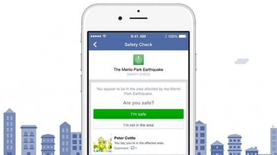 Se ti trovi vicino a un disastro, Facebook ti chiede se stai bene e avvisa tutti