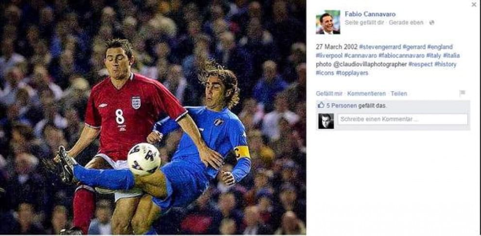 Gaffe Cannavaro: omaggia Gerrard, ma pubblica una foto di Lampard