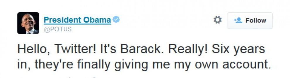 Barack Obama su Twitter: ''Finalmente ho il mio account''