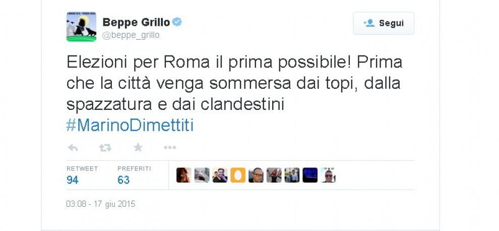 """Grillo, polemica su Marino : """"Roma sommersa da topi e clandestini"""". Poi si corregge"""