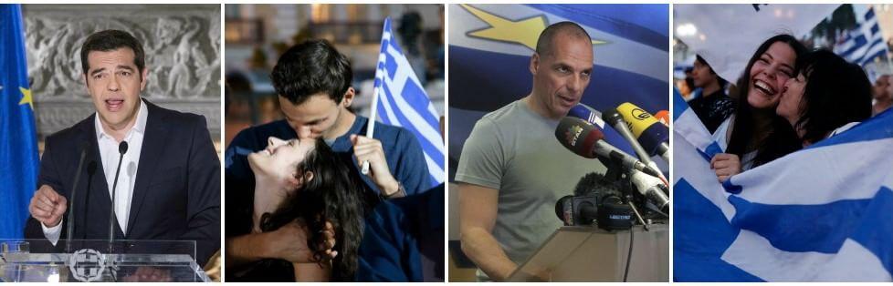 """Grecia, vince il No col 61,3%, il Sì al 38,7%. Festa in piazza   foto   -   video       Tsipras: """"Ora trattare anche sul debito"""" -   fotoracconto"""