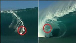 Travolto dall'onda gigante si salva il surfista italiano