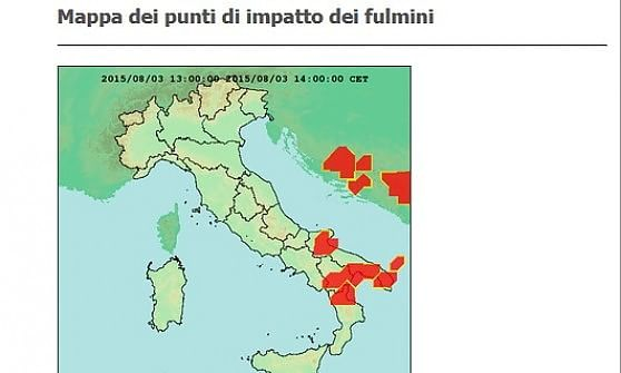 Fulmini, una mappa per sapere dove cadono