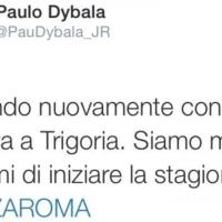 "La gaffe di Dybala su twitter: ""Forza Roma!"""