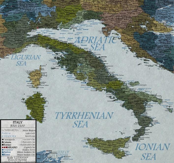 Cartografia di un cambiamento: ecco l'Italia nel 2100
