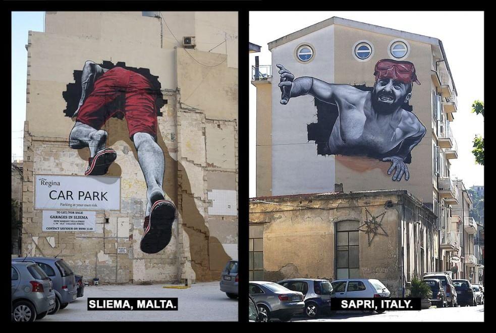 Migranti, il tunnel del Mediterraneo: Malta e Sapri unite da un murales