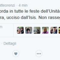 Il tweet di Renzi: 'Stasera il Pd ricorda l'archeologo ucciso dall'Is'