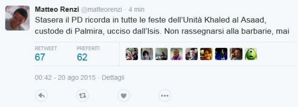 "Il tweet di Renzi: ""Stasera il Pd ricorda l'archeologo ucciso dall'Is"""