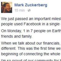 Il primo miliardo di Facebook: mille milioni di utenti attivi in un giorno