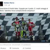 MotoGp, il tweet di Renzi per i tre italiani sul podio a Silverstone