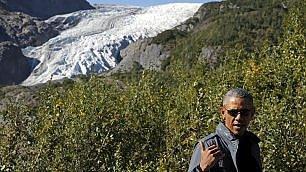 """Obama in visita all'Exit Glacier """"I nostri nipoti lo devono vedere"""""""