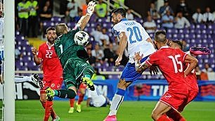 Italia che fatica,   foto    Malta battuta 1-0 Azzurri primi nel girone