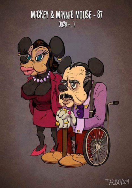 Se Topolino e Minnie dimostrassero la loro età: i personaggi dei cartoon come non li avete mai visti