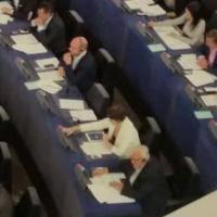 Strasburgo vota su migranti, Comi fotografa posto vuoto di Salvini