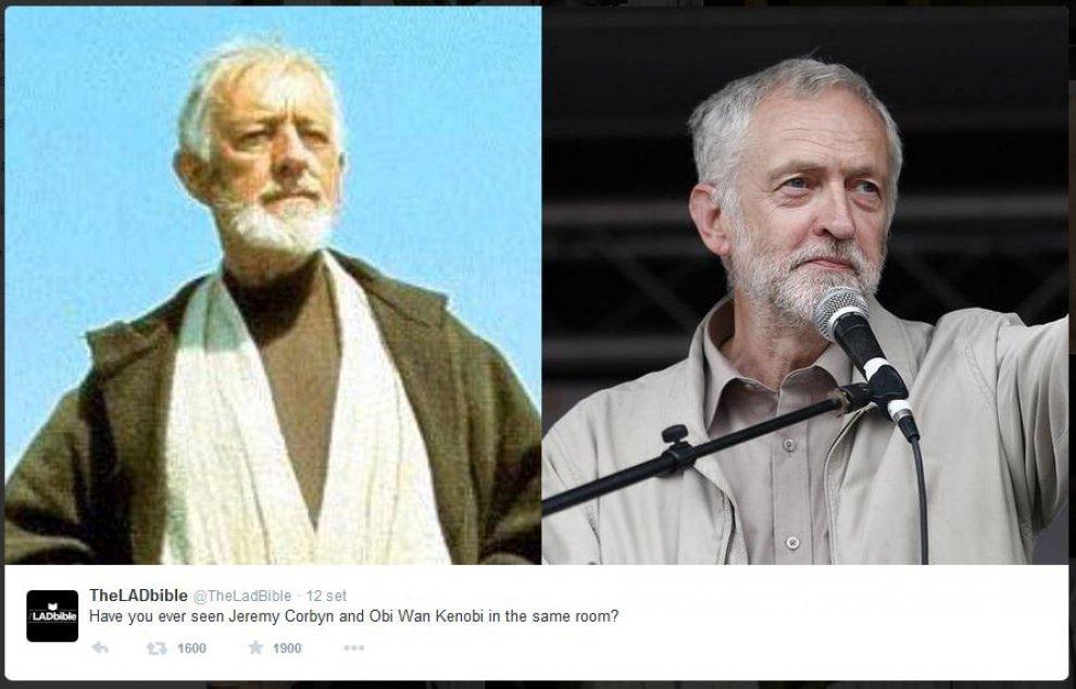 """Un sosia stellare, Corbyn come Obi-Wan Kenobi: e Twitter lo battezza """"Corbynobi"""""""