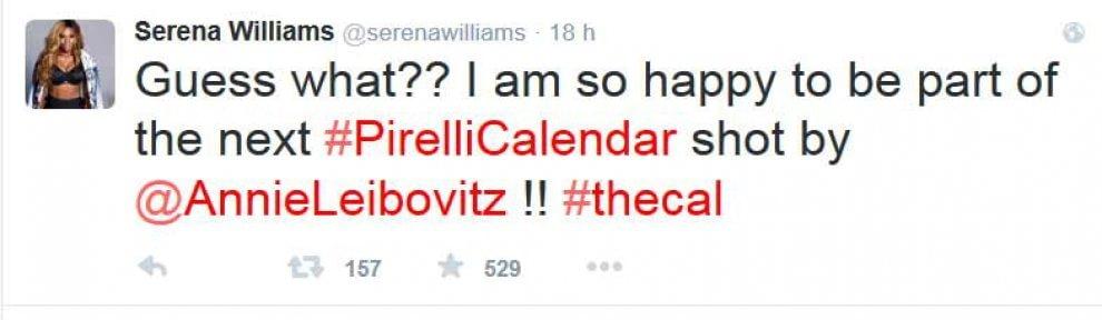 Serena Williams su Twitter: ''Sarò nel calendario Pirelli''