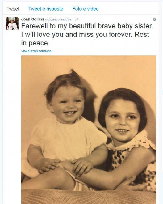 """Joan Collins: """"Addio alla mia sorellina coraggiosa"""""""