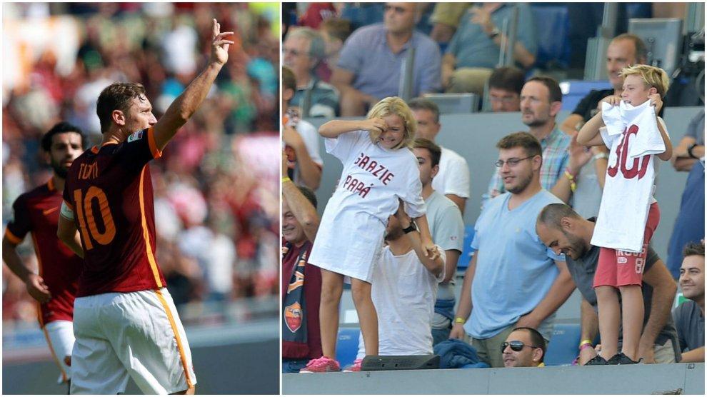 """Totti, 300 gol con la Roma. i figli festeggiano con la maglia """"Grazie papà"""""""
