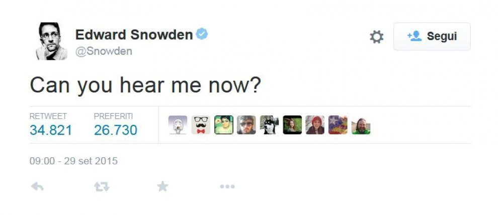 Edward Snowden approda su Twitter: migliaia di follower in poche ore
