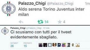 """Tweet calcistico da Palazzo Chigi poi le scuse: """"È stato un errore"""""""