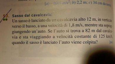"""""""Se un sasso è lanciato dal cavalcavia..."""" Sul libro di fisica al liceo problema-shock"""