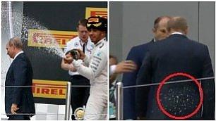 """F1, Hamilton, champagne su Putin    Foto  Ironia su Twitter: """"E' vivo?"""""""