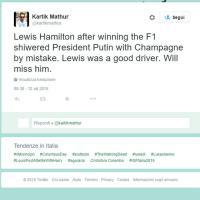 "Lo champagne di Hamilton bagna Putin, ironia social: ""Lewis ci mancherà"""