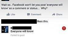 """Facebook censura il commento """"Tutti sapranno"""". Ecco perché"""
