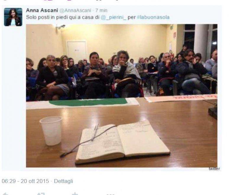 Pd, la gaffe di Anna Ascani: twitta #labuonasola