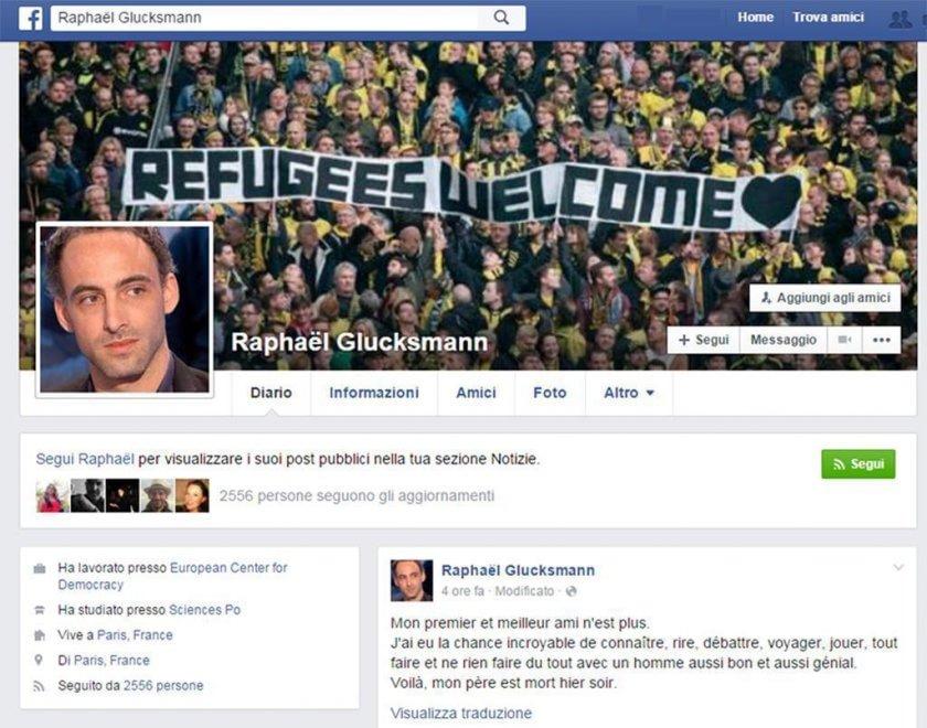 Glucksmann, l'omaggio commovente del figlio Raphael su FB