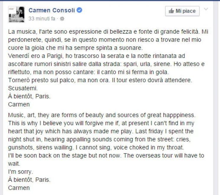"""Carmen Consoli rimanda il tour dopo Parigi: """"Non provo gioia a suonare, scusate"""""""