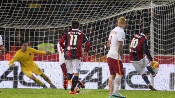 Bologna-Roma 2-2: diluvio e rigori, Destro frena i giallorossi
