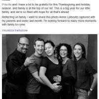 """Zuckerberg festeggia il Ringraziamento su Fb: """"Siamo così pieni di speranza"""""""