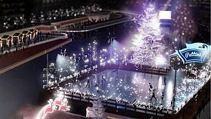 Pattini e albero nell'acqua è il Christmas Village alla Darsena