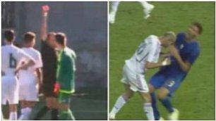 Come il padre a Berlino nel 2006 Zidane junior, testata e poi rosso
