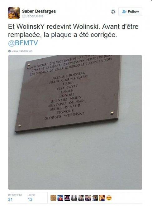 Charlie Hebdo, sbagliato nome di Wolinski ma poi corretta la targa commemorativa