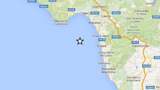 Calabria, sisma magnitudo 4.1 a largo di Scalea e Praia a Mare