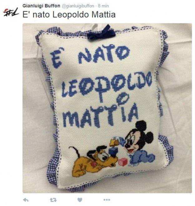 Nato Leopoldo Mattia, figlio di Gigi Buffon e Ilaria D'Amico: l'annuncio su Twitter