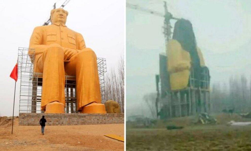 Cina, abbattuta statua gigante d'oro di Mao: mancavano i permessi