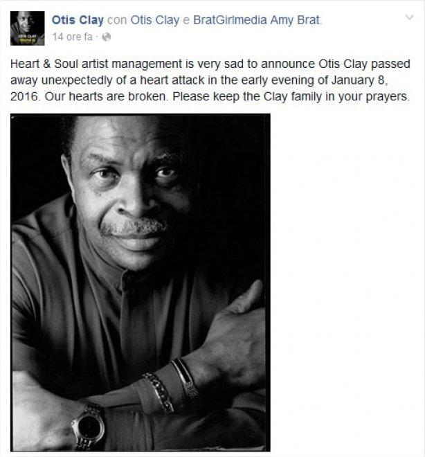Addio a Otis Clay, muore a 73 anni la leggenda dell'r&b e del soul
