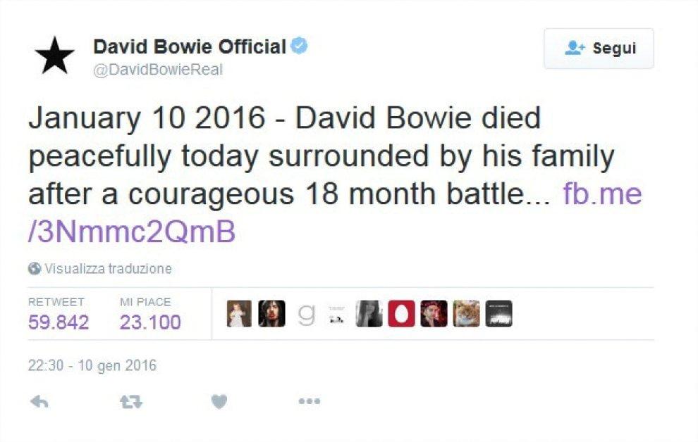 David Bowie, Twitter piange la morte del Duca Bianco