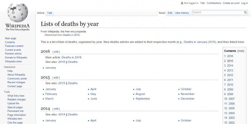 Wikipedia, i 25 articoli più letti nel 2015: dalle morti celebri a Hawking