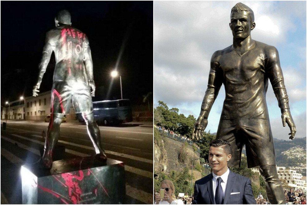 """Scrivono """"Messi 10"""" sulla statua di Ronaldo: la sorella si indigna su Twitter"""