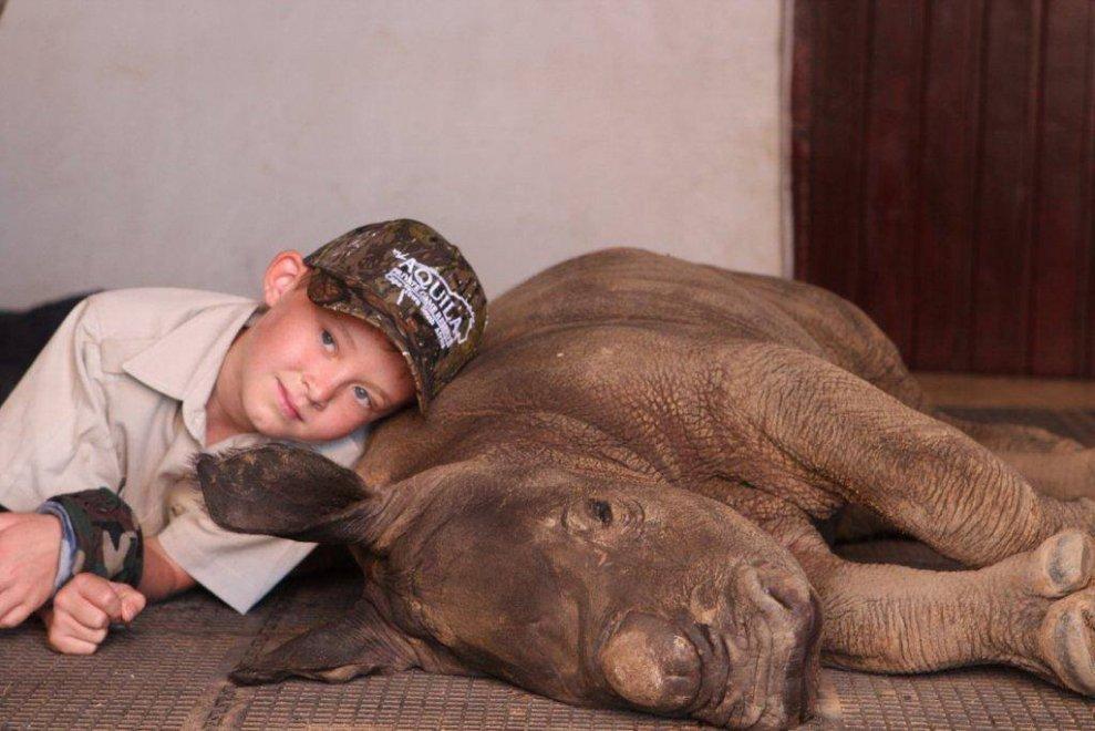 Sudafrica, bimbo raccoglie mille dollari per salvare il baby rinoceronte abbandonato