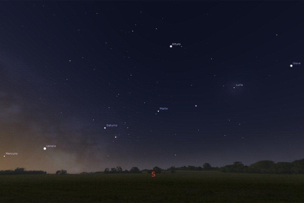 Tutti in fila nel cielo, lo spettacolo dei pianeti allineati sopra l'orizzonte