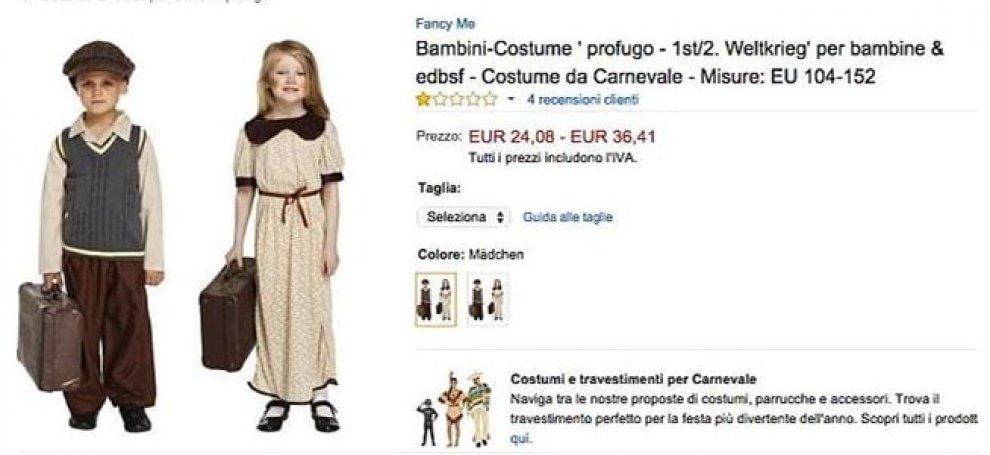 Carnevale, polemiche per costume da 'piccolo profugo': Amazon ritira annuncio