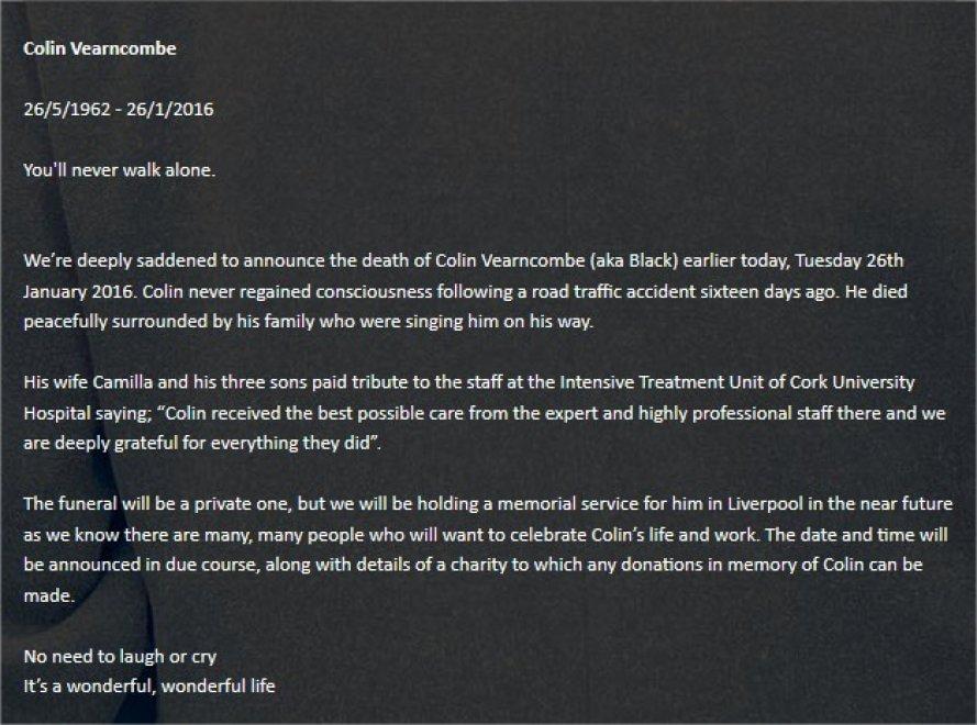 "Addio a Black, muore in un incidente stradale l'autore di ""Wonderful Life"""