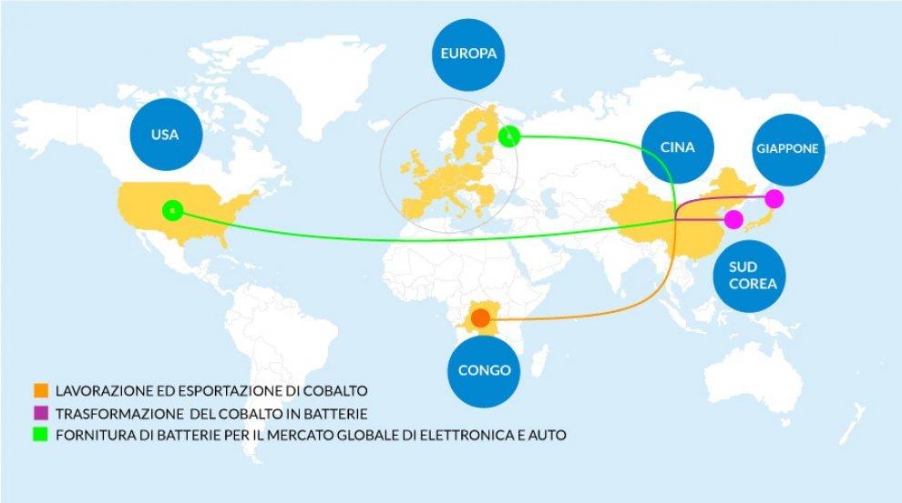 Il mercato globale del cobalto, la mappa